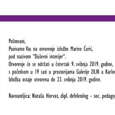 """Izložba Marine Ćorić """"Duševni interijer"""""""
