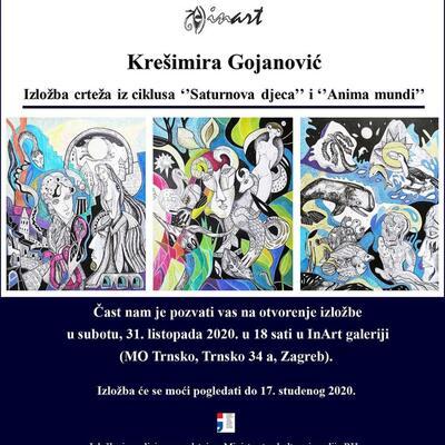 """Samostalna izložba crteža Krešimire Gojanović iz ciklusa """"Saturnova djeca"""" i """"Anima mundi"""" u Galeriji InArt"""