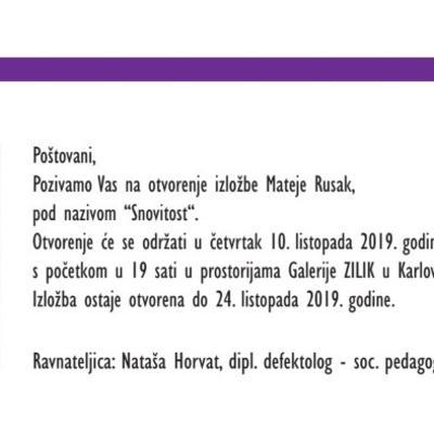 """Samostalna izložba """"Snovitost"""" akademske umjetnice Mateje Rusak"""