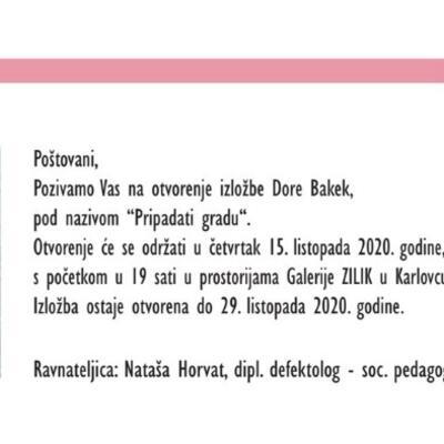 """Samostalna izložba Dore Bakek """"Pripadati gradu"""""""